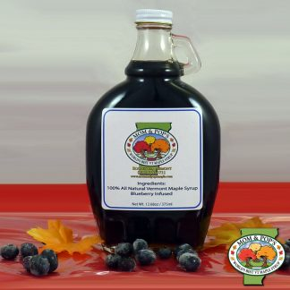 A bottle of Blueberry Infused Maple Syrup