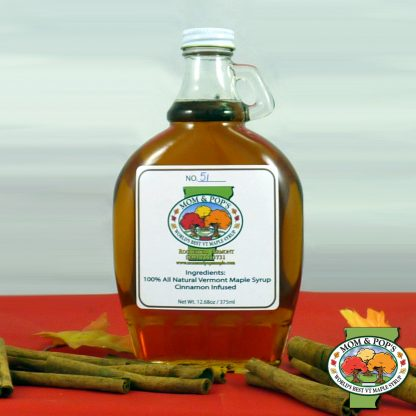 A bottle of cinnamon infused maple syrup