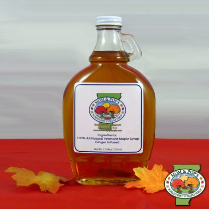 A bottle of Ginger Infused Maple Syrup