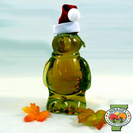 A polar bear-shaped bottle of Vermont maple syrup