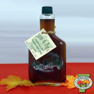 A bottle of Raspberry Infused Maple Syrup