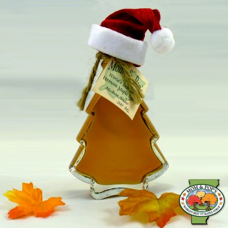 A Christmas tree-shaped bottle of Vermont maple syrup