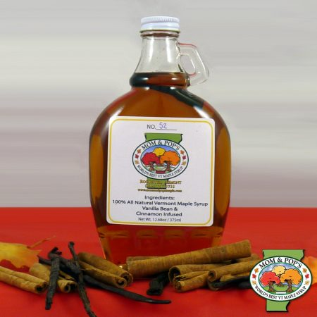 A bottle of Vanilla Bean and Cinnamon Infused Maple Syrup